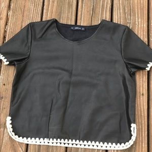 Zara Knit Faux Leather Crop Top